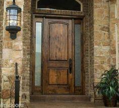 Rustic Knotty Alder 2 Panel Solid Wood Entry Door Exterior Pre Hung Wood Doors