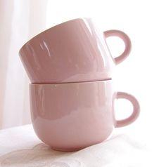 Vintage Mugs Pink Peach Stoneware Tea Cups Coffee Mugs Shabby Chic Rose Feminine Romantic, Set of 2- Vintage Home Decor on Wanelo