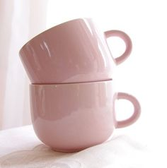 Vintage Mugs Pink Peach Stoneware Tea Cups Coffee Mugs Shabby Chic Rose Feminine Romantic, Set of 2- Vintage Home Decor on Wanelo