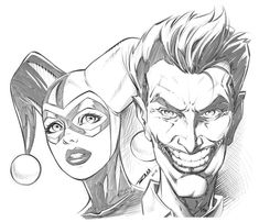 Joker and Harley Quinn - Inks by robertmarzullo on DeviantArt Joker Et Harley Quinn, Harley And Joker Love, Harley Quinn Tattoo, Harley Quinn Drawing, Joker Drawings, Dark Art Drawings, Pencil Art Drawings, Cool Drawings, Art Sketches