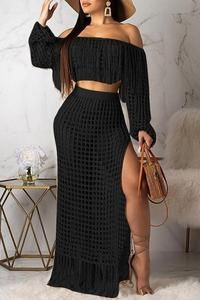 Lovely Sexy Hollow-out Tassel Design Black Two-piece Skirt Set(Without Lining) - Clothes & Dresses Hot Dress, Jumpsuit Dress, Two Piece Outfit, Two Piece Skirt Set, Purple And Gold Dress, Beach Skirt, Crochet Fashion, Wholesale Clothing, Crochet Dresses