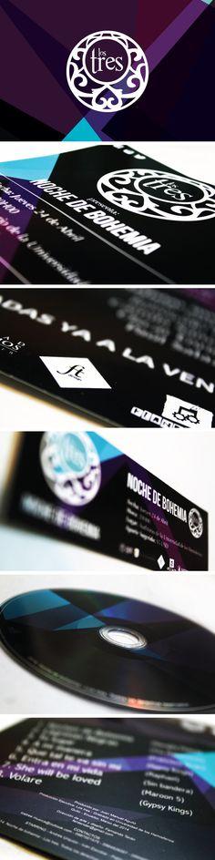Diseño de piezas gráficas, Packaging e imagen del disco ¨noche de bohemia¨ del grupo musical ¨los tres¨ por Fernando Terán