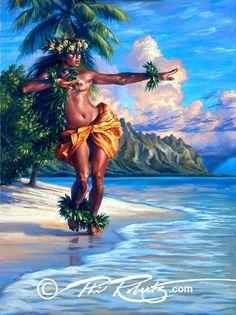 Tahitian hula girl fine art by Phil Roberts