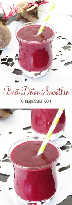 Beet Detox Smoothie - healthy beet smoothie with banana, blueberries and strawberries. Sweet and delicious drink recipe by ilonaspassion.com I @ilonaspassion