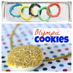 Olympic Cookies:  Olympic Rings and Gold Medals