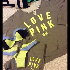 VICTORIAS SECRET PINK Bikini Crew SS & Shorts ☀️❣ VS PINK~ Surf Flirt Bandeau, Itsy Surf ColorBlock neoprene Bikini 32B, XS.  Plus ++++++++slouchy pullover Crew sweatshirt and matching shorts,  Gray, Neon Lime. Both Brand New, both XS!! ☀️☀️☀️❤️ PINK Victoria's Secret Tops Sweatshirts & Hoodies