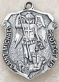"""SAINT MICHAEL POLICE BADGE MEDAL, Price includes shipping to all fifty states. Solid sterling silver medal, approx. 3/4"""" in height. Gift boxed with a complimentary 20"""" stainless steel chain. Carries the Creed lifetime guarantee."""