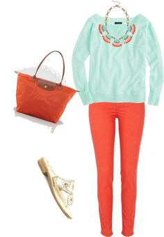 Coral and Mint J Crew necklace and cashmere sweater