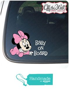 """Minnie Mouse """"BABY ON BOARD"""" Sign Vinyl Decal Sticker for Cars / Trucks BOB2…"""