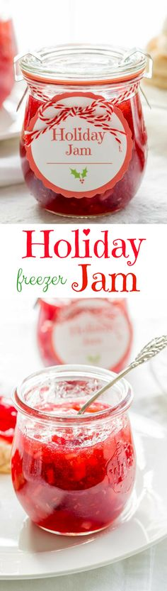 Holiday Jam ~ a wonderful combination of cranberries, raspberries, and pears with a touch of spice and a splash of Grand Marnier! This quick & easy freezer jam recipe will thrill you and your guests. Dressed up in a pretty jar, this makes a wonderful gift Christmas Jam, Christmas Treats, Christmas Baking, Easy Freezer Jam Recipe, Fudge, Cranberry Jam, Jam And Jelly, Grand Marnier, Canning Recipes