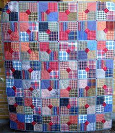 men´s shirts...Homespuns with red centers and very thin blue sashing--love the scrappiness