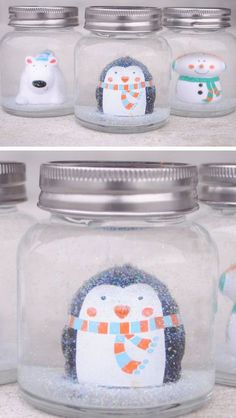 Adorable DIY Snow Globes | 25+ Budget DIY Christmas Gifts for KidsE