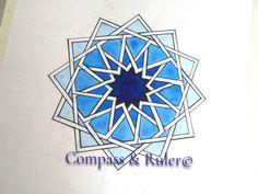 Design from Madressa al-Attarine in Fez, Morocco # Geometry Fez Morocco, Geometry Art, Ruler, Rosettes, Compass, Islamic, Original Art, Watercolor, Artist