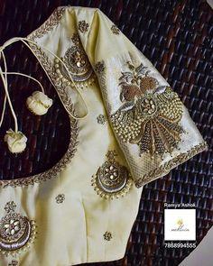 nɛklʌɪn by RamyaAshok ( Blouse Designs Catalogue, Best Blouse Designs, Simple Blouse Designs, Dress Neck Designs, Bridal Blouse Designs, Saree Blouse Designs, Chiffon Saree Party Wear, Simple Embroidery Designs, Designer Blouse Patterns
