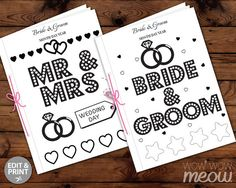 WEDDING COLORING Book Kid Activity Childrens Page Sheets Mr Mrs Booklet Printable Personalize Kids Print