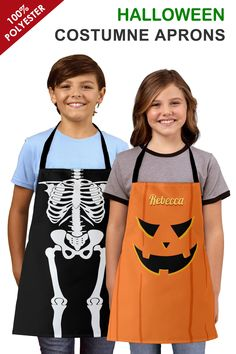 These cute and little spooky aprons are ideal for Kids' Halloween Costume. These Customizable Aprons are made of a top quality polyester, our fully sublimation designs will definitely make a great impression.