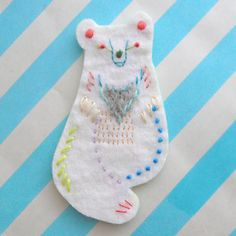 Embroidered bear by Japanese artist Mari Kamio