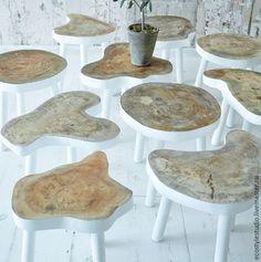 Купить Табуретка в стиле Lofteco - белый, арт табуретка, табуретка из дуба, табуретка из дерева