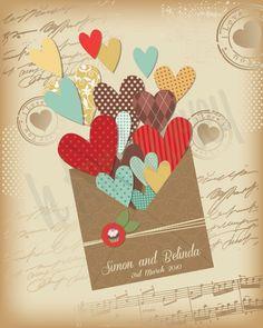 Personalised Love Hearts Vintage envelope design wall art