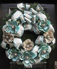 Aqua Christmas Wreath XL Wreaths For Christmas Elegant