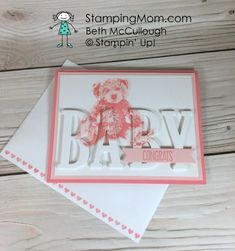 Stampin Up Baby Bear Eclipse baby card designed by demo Beth McCullough. Please see more card and gift ideas at www.StampingMom.com #StampingMom #cute&simple4u