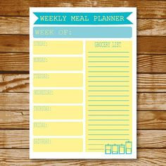 Turquoise Yellow Weekly Meal Planner Printable Instant