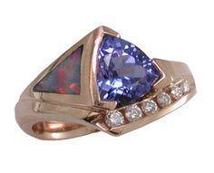 - * Tanzanite - Opal Ring * -