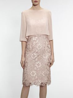 Buy Gina Bacconi Bouquet Guipure Dress with Chiffon Top, Apricot Crush from our Women's Dresses range at John Lewis & Partners. Elisa Cavaletti, Summer Wedding Outfits, Mode Chic, Groom Dress, Dress Suits, Simple Dresses, Occasion Dresses, Mother Of The Bride, Lace Dress
