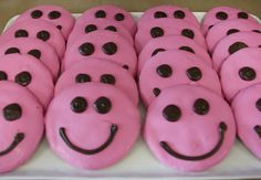 Smile cookies. Edible smiling faces and the pink matches the bowl.