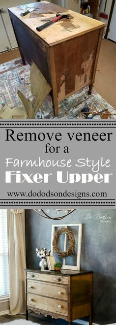 Did you know there is beautiful wood behind venner? Your Farmhouse style furniture is waiting on you to find them. #veneerremoval