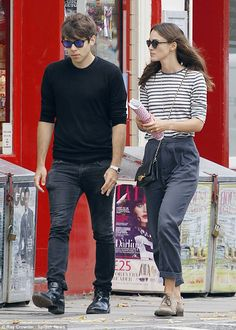 Low key: Actress Keira Knightley and Klaxons singer James Righton stepped out in North London for a stroll in relaxed daytime ensembles