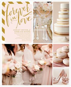 An elegant palette of blush pink and gold, is there anything more romantic? For a contemporary touch, opt for graphic stripes and mismatched bridesmaids dresses. Find more wedding inspiration boards at blog.weddingpaperdivas.com.