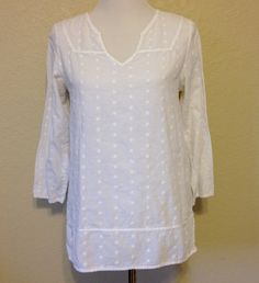 Long White Tunic Top or Beach Cover Up Womens Size Extra Small by Oldtonewjewels on Etsy