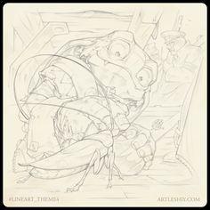 Lineart Challenge, Oleg leshiy Shekhovtsov on ArtStation at https://www.artstation.com/artwork/X4Nr3