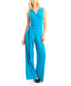Look what I found on #zulily! Turquoise Tie-Waist Surplice Jumpsuit by Zac Studio #zulilyfinds