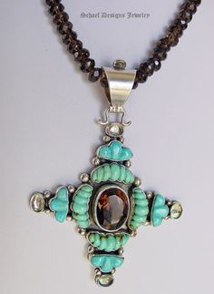 Carved Kingman Turquoise with Large Smokey Topaz Cross Pendant    Schaef Designs