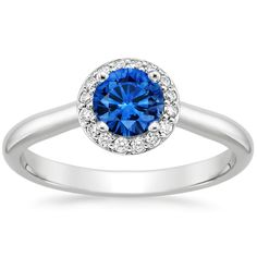 18K White Gold Sapphire Halo Diamond Ring from Brilliant Earth