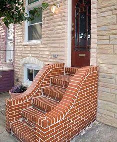 Classic House Design, House Front Design, Modern House Design, Brick Wall Decor, Brick Projects, Brick Steps, Brick Art, Simple Fireplace, Brick Construction