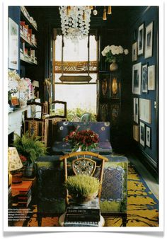 Inky Blue & Saffron Yellow, love the color combination ~ Muriel Brandolini designer wall color, couch cover, rug color. Where get shades like these?