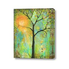 Large Wall Art Stretched Canvas Print 20X24 Giclee Blue Birds Art Tree of Life Decor Couple