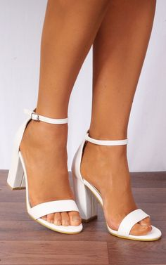 c6761a2d1 White Barely There Ankle Strap Strappy Sandals High Heels By Shoe Closet