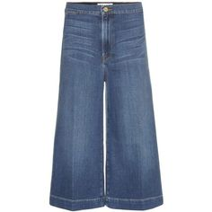 Frame Denim Culottes (2.422.055 IDR) ❤ liked on Polyvore featuring pants, capris, bottoms, jeans, blue, frame denim, blue denim pants, denim trousers, blue pants and blue trousers