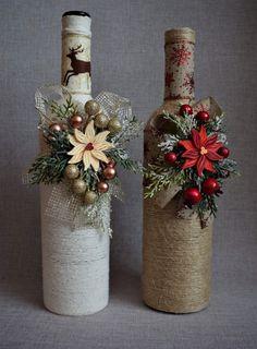 Handmade Christmas Decorations, Christmas Crafts, Xmas, Wine Bottle Art, Wine Bottle Crafts, Teapot Crafts, Wedding Wine Bottles, Christmas Flowers, Quilling Art