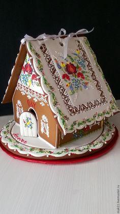 """Купить Пряничные домики """"Свадебные. Вышивка калочаи"""" - пряничный домик, пряники на заказ, домик"""