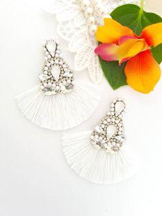 Prom Earrings, Bridesmaid Earrings, Rhinestone Earrings, Wedding Earrings, Tassel Earrings, Bridesmaid Gifts, Statement Earrings, Stud Earrings, Handmade Jewellery