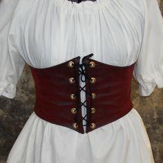 Renaissance Waist Cincher - Pirate Waist Belt - Corset -  Red Faux Leather - Steampunk, SCA, LARP, POTC Costume. $35.00, via Etsy.