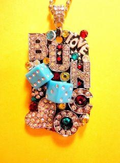 Bunco Dog Tag Pendant Necklace Number 1579 by BradosBling on Etsy, $39.99 www.bradosbling.com