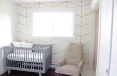 A tutorial on how to create this beautiful three dimensional gold herringbone wall. Decorating Your Home, Diy Home Decor, Decorating Ideas, Washi Tape Wall, Herringbone Wallpaper, Accent Wall Bedroom, Baby Bedroom, Nursery Wall Decor, Room Decor