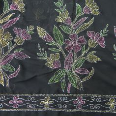 VINTAGE INDIAN SAREE KANTHA EMBROIDERED FABRIC DÉCOR CRAFT SARONG BLACK SARI 5YD
