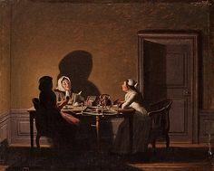Högläsning i ljusets sken.  Enligt uppgift signerad Hilleström och daterad f.1805. Duk 41,5 x 51,5 cm.
